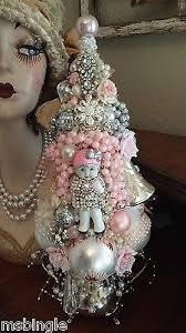 vintage bisque baby ornaments bottle brush pink tree rhinestones