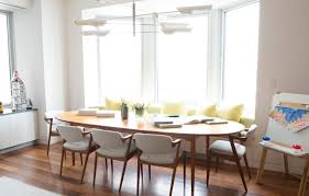 Banquette Seating Dining Room Large Oval Wooden Dining Table With Decorative Banquette Seating