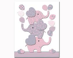 Pink Elephant Nursery Decor Elephant Nursery Decor Pink Grey Nursery Wall For Baby