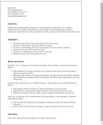 Resume Examples For Janitorial Position by Professional General Maintenance Worker Templates To Showcase Your