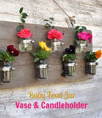 jar vase diy baby food jar vase candle holder craft o maniac