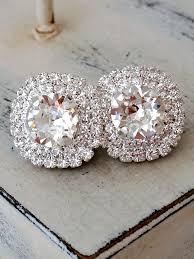 large stud earrings clear earringssilver bridal earringslarge stud