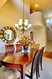 luxury elegant classic dining room with high ceiling room stock
