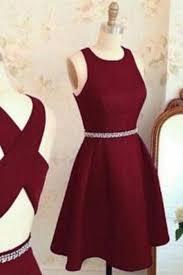 simple dresses burgundy chiffon neck a line cross back prom dress
