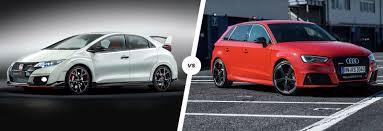 honda civic sportback honda civic type r vs audi rs3 hatch battle carwow