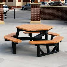 Commercial Picnic Tables by Recycled Plastic Hexagon Picnic Table U2013 Wolverine Commercial