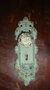 Shabby French Cottage by Shabby French Chic Cast Iron Aqua Door Plate Glass Knob Curtain