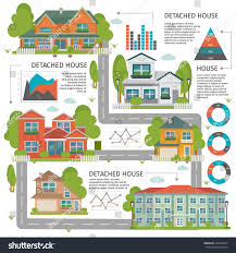 colored buildings flat infographics detached house stock vector