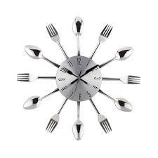 Home Decor Clocks Cool Stylish Modern Design Wall Clock Silver Kitchen Cutlery