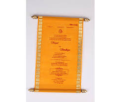 scroll invitation scroll invitation in orange tissue material