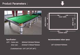 Pool Table Dimensions by Solid Wood English Style Cheap Snooker Table Dimensions 12ft Pool