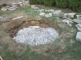 Firepit Base Filling Pit Base With Rock Home Pinterest