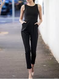black sleeveless jumpsuit scoop neck black backless sleeveless jumpsuit black jumpsuits