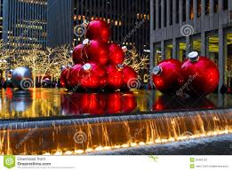 giant christmas ornaments in manhattan nyc editorial photography