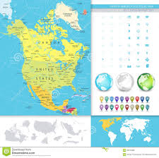 Chicago Political Map by North America Detailed Political Map Stock Vector Image 59316989