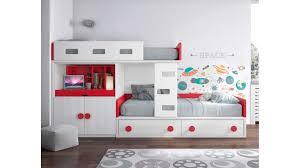 lit avec bureau coulissant lit superposé blanc pratique et personnalisable glicerio so nuit