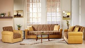 contemporary two tone living room with storage sleeper couch