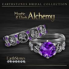 amethyst engagement ring sets second marketplace earthstones wedding rings mystic