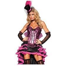 Showgirl Halloween Costume Elite Deluxe Burlesque Showgirl Saloon Pink Black Fancy
