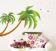 aliexpress com buy green coconut tree gulls vinyl wall stickers