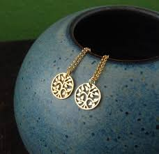 small gold tree of pendant and gold filled necklace gold