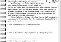 free 1st grade reading comprehension worksheets and 2nd grade