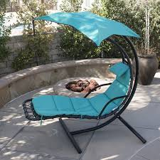 Swinging Lounge Chair Hanging Chaise Lounger Chair Porch Patio Swing Hammock Canopy