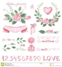 watercolor pink floral decor set with numbers stock vector image