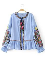 light blue button down shirt women s light blue stripe print embroidered long sleeve blouse 032282