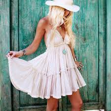 online shop boho inspired summer dress cotton lace pleated halter