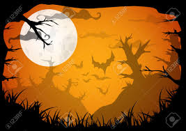 halloween yellow spooky a4 frame border with moon death trees