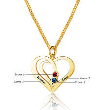 mothers day birthstone necklace heart gold tone name necklace for s day gift