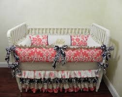 Navy And Coral Baby Bedding Custom Baby Bedding Custom Baby Bedding Set Mercedes Crib