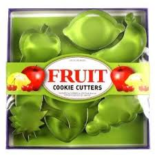 fruit cookie cutters 6pc set plastic container city