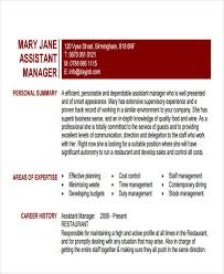Restaurant Assistant Manager Resume 43 Manager Resumes In Pdf