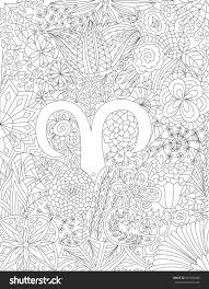 zodiac sign aries floral geometric doodle pattern coloring page