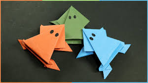 origami frog that jumps easy fun paper craft for kids youtube