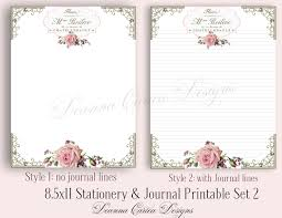 letter writing paper printable 8 5x11 stationery and journal note printable set 2 floral zoom