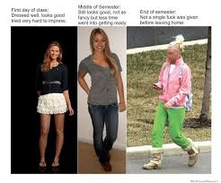 First Day Of College Meme - how girls dress throughout the semester weknowmemes