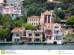 Bosporus Strait Map Waterside Houses Along The Bosphorus Strait Stock Photo Image