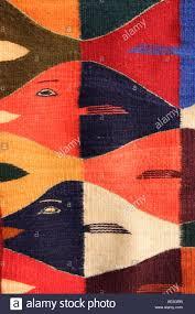 zapotec style rug teotitlan del valle village near oaxaca city