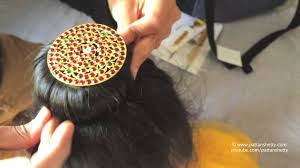 bharatanatyam hair accessories how to tie hair bun with rakodi ಮಬ ಡ donut for