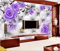 online get cheap purple roses wall aliexpress com alibaba group custom photo 3d room wallpaper mural purple rose pattern picture painting 3d wall murals wallpaper for