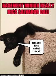 Funny Salvadorian Memes - basement minion really digs salvador dali lolcats lol cat