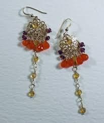 Red Chandelier Earrings Long Gold Chandelier Earrings Orange U0026 Gold Gems Long Gold Earrin