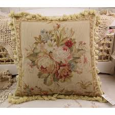chic shabby floral house sofa chair decorative needlepoint pillow