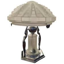 Art Deco Lamp Shades French Art Deco Table Lamp With Geometric Glass Shade U2013 1 Of A Kind Nj