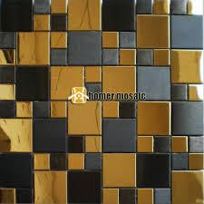 kitchen backsplash metal stainless steel mosaic tiles brush finished black mixed glossy