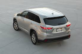toyota highlander 2015 2015 toyota highlander overhead rear three quarters photo