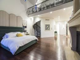 Loft Ideas by Contemporary Master Bedroom With Cathedral Ceiling U0026 Stone